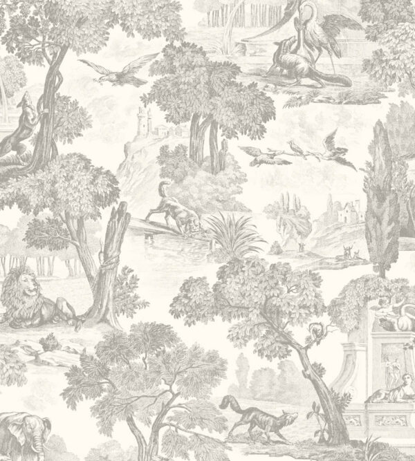 Cole & Son Folie Versailles Wallpaper in Charcoal