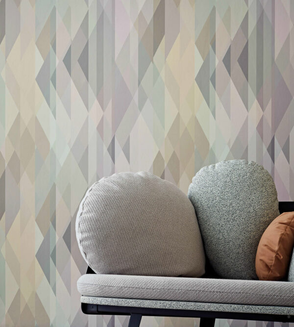 Cole & Son Prism Wallpaper Pastel with Couch