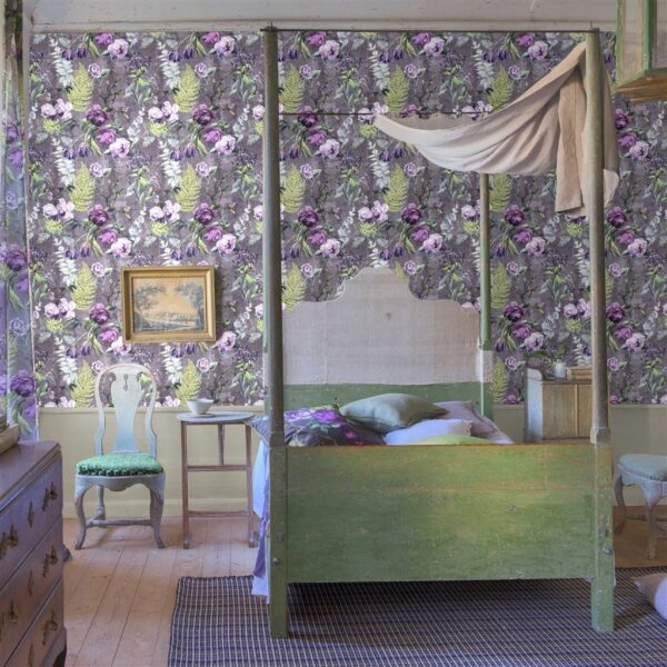 Designers Guild Flowers Wallpaper Tulipani Amethyst Bedroom