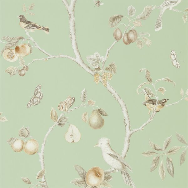 Sanderson Art of the Garden Fruit Aviary Wallpaper Sage