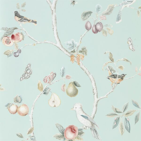 Sanderson Art of the Garden Fruit Aviary Wallpaper Duck Egg