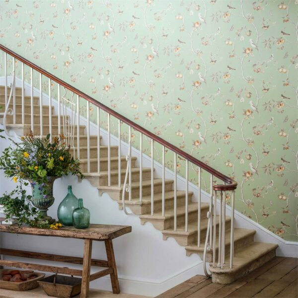 Sanderson Art of the Garden Fruit Aviary Wallpaper Stairs