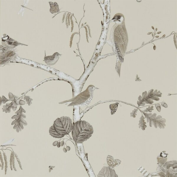 Sanderson Woodland Walk Woodland Chorus Wallpaper Sepia Neutral