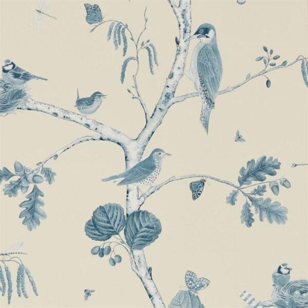 Sanderson Woodland Walk Woodland Chorus Wallpaper Indigo Ecru