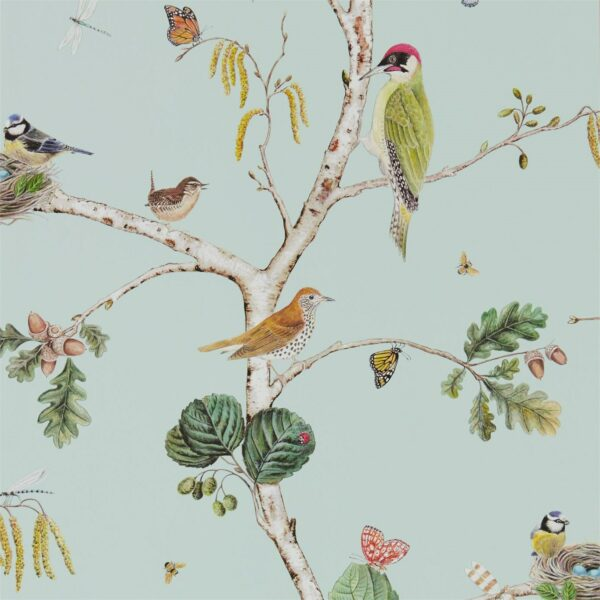 Sanderson Woodland Walk Woodland Chorus Wallpaper Sky Blue