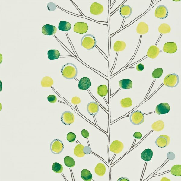 Scion Melinki Berry Tree Wallpaper Emerald Lime & Chalk